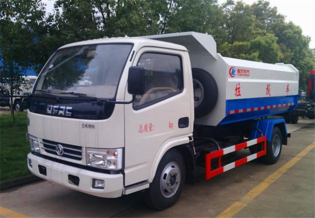 5方东风多利卡挂桶式垃圾车-5方东风多利卡挂桶式垃圾车 程力威CLW5075ZZZD5自装卸式垃圾车